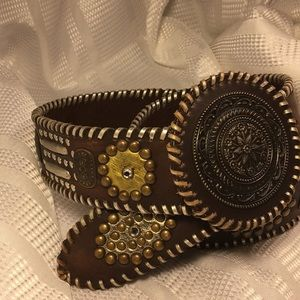 Chico's Accessories - Chico's leather embroidered/studded buckle belt